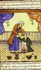 дворе арабского халифа (иллюстрация к древним текстам)
